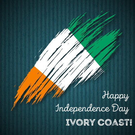 Ivory Coast Independence Day Patriotic Design. Expressive Brush Stroke in National Flag Colors on dark striped background. Ilustração
