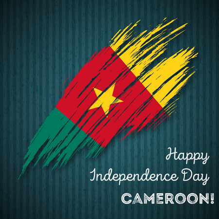 Cameroon Independence Day Patriotic Design. Expressive Brush Stroke in National Flag Colors on dark striped background.