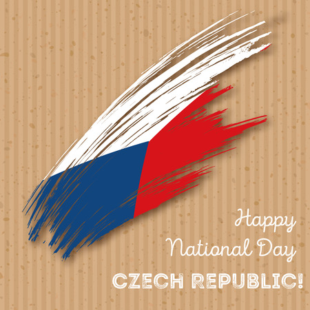 Czech Republic Independence Day Patriotic Design. Expressive Brush Stroke in National Flag Colors on kraft paper background. Happy Independence Day Czech Republic Vector Greeting Card.