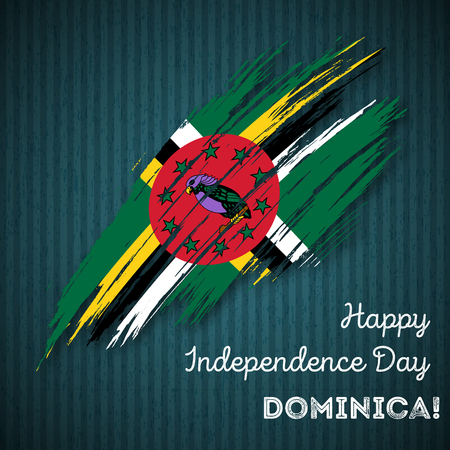 Dominica Independence Day Patriotic Design. Expressive Brush Stroke in National Flag Colors on dark striped background. Happy Independence Day Dominica Vector Greeting Card.