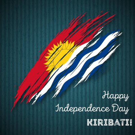 Kiribati Independence Day Patriotic Design. Expressive Brush Stroke in National Flag Colors on dark striped background. Happy Independence Day Kiribati Vector Greeting Card.
