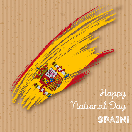 Spain Independence Day Patriotic Design. Expressive Brush Stroke in National Flag Colors on kraft paper background. Happy Independence Day Spain Vector Greeting Card.