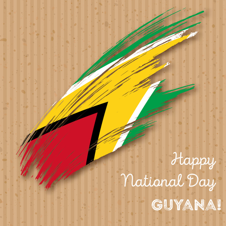 co operative: Guyana Independence Day Patriotic Design. Expressive Brush Stroke in National Flag Colors on kraft paper background. Happy Independence Day Guyana Vector Greeting Card.