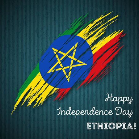 Ethiopia Independence Day Patriotic Design. Expressive Brush Stroke in National Flag Colors on dark striped background. Happy Independence Day Ethiopia Vector Greeting Card.