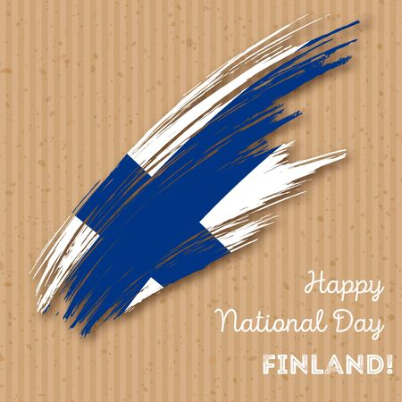 finnish: Finland Independence Day Patriotic Design. Expressive Brush Stroke in National Flag Colors on kraft paper background. Happy Independence Day Finland Vector Greeting Card. Illustration