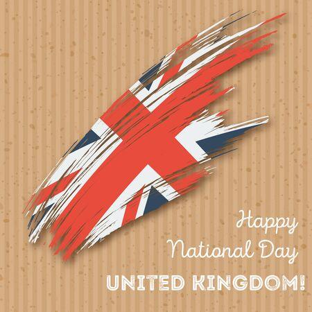 United Kingdom Independence Day Patriotic Design. Expressive Brush Stroke in National Flag Colors on kraft paper background. Happy Independence Day United Kingdom Vector Greeting Card. Illustration