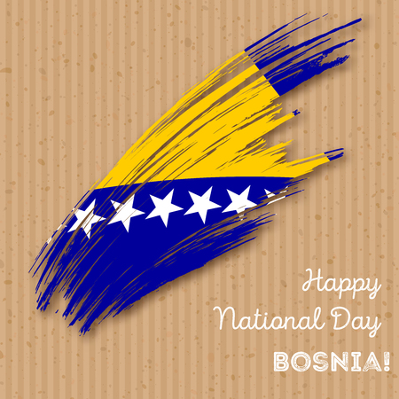 Bosnia Independence Day Patriotic Design. Expressive Brush Stroke in National Flag Colors on kraft paper background. Happy Independence Day Bosnia Vector Greeting Card.