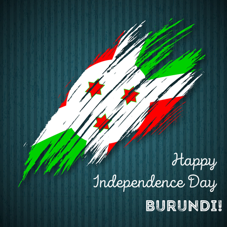 Burundi Independence Day Patriotic Design. Expressive Brush Stroke in National Flag Colors on dark striped background. Illustration