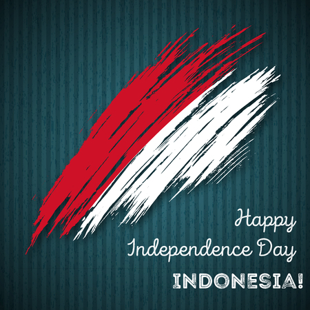Indonesia Independence Day Patriotic Design. Expressive Brush Stroke in National Flag Colors on dark striped background. Happy Independence Day Indonesia Vector Greeting Card.