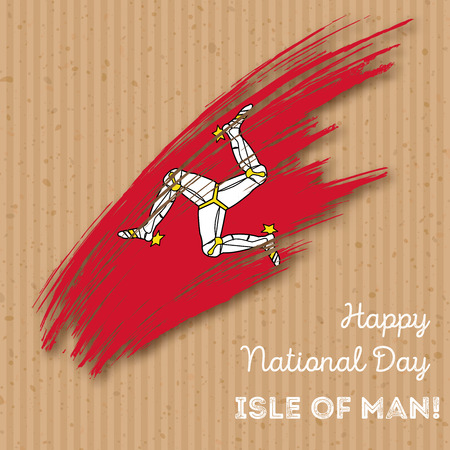 Isle of Man Independence Day Patriotic Design. Expressive Brush Stroke in National Flag Colors on kraft paper background. Happy Independence Day Isle of Man Vector Greeting Card.