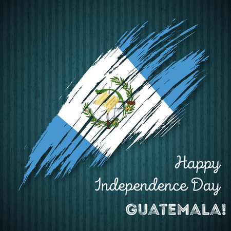 Guatemala Independence Day Patriotic Design. Expressive Brush Stroke in National Flag Colors on dark striped background. Happy Independence Day Guatemala Vector Greeting Card. Vector Illustration