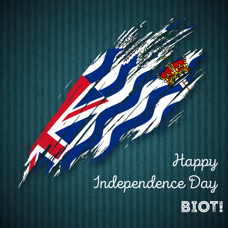 BIOT Independence Day Patriotic Design. Expressive Brush Stroke in National Flag Colors on dark striped background. Happy Independence Day BIOT Vector Greeting Card.