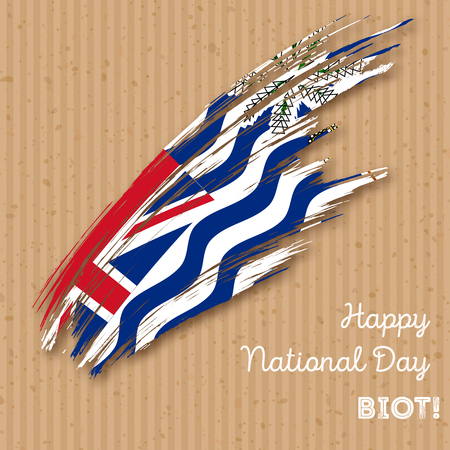 BIOT Independence Day Patriotic Design. Expressive Brush Stroke in National Flag Colors on paper background. Happy Independence Day BIOT Vector Greeting Card. Illustration
