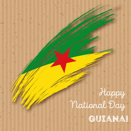guiana: Guiana Independence Day Patriotic Design. Expressive Brush Stroke in National Flag Colors on paper background. Happy Independence Day Guiana Vector Greeting Card.