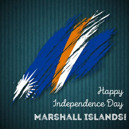 oceania: Marshall Islands Independence Day Patriotic Design. Expressive Brush Stroke in National Flag Colors on dark striped background. Happy Independence Day Marshall Islands Vector Greeting Card.