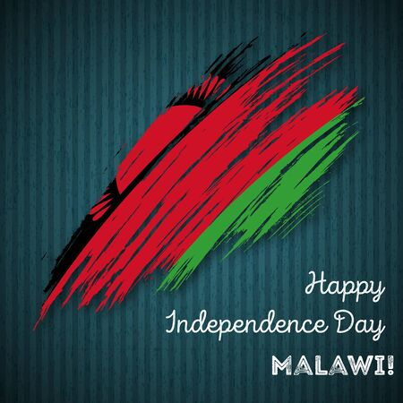 Malawi Independence Day Patriotic Design. Expressive Brush Stroke in National Flag Colors on dark striped . Happy Independence Day Malawi Greeting Card.