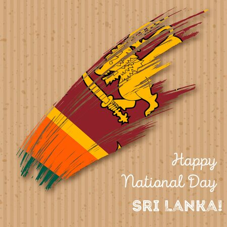 Sri Lanka Independence Day Patriotic Design. Expressive Brush Stroke in National Flag Colors on kraft paper background. Happy Independence Day Sri Lanka Vector Greeting Card. Illustration