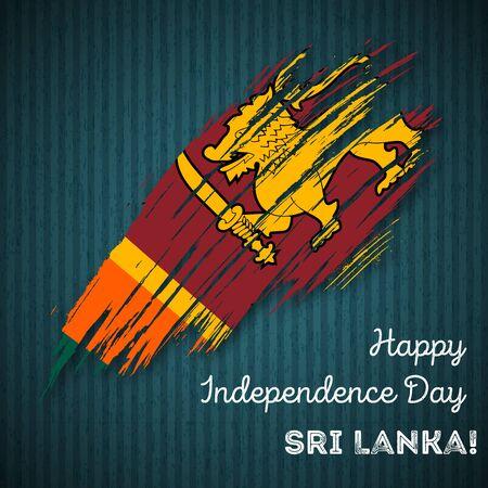 Sri Lanka Independence Day Patriotic Design. Expressive Brush Stroke in National Flag Colors on dark striped . Happy Independence Day Sri Lanka Greeting Card. Illustration