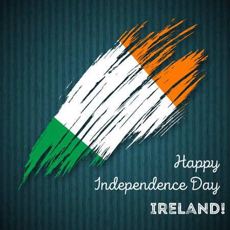 Ireland Independence Day Patriotic Design. Expressive Brush Stroke in National Flag Colors on dark striped . Happy Independence Day Ireland Greeting Card. Illustration