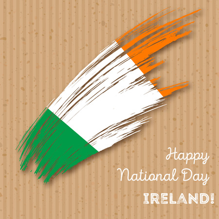 Ireland Independence Day Patriotic Design. Expressive Brush Stroke in National Flag Colors on craft paper . Happy Independence Day Ireland Greeting Card.