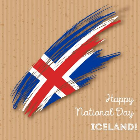Iceland Independence Day Patriotic Design. Expressive Brush Stroke in National Flag Colors on paper . Happy Independence Day Iceland Greeting Card. Illustration
