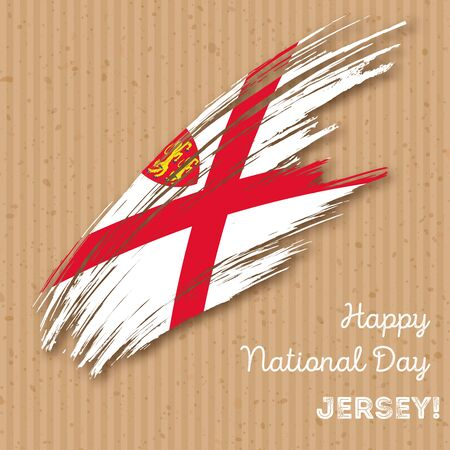 Jersey Independence Day Patriotic Design. Expressive Brush Stroke in National Flag Colors on kraft paper background. Happy Independence Day Jersey Vector Greeting Card.