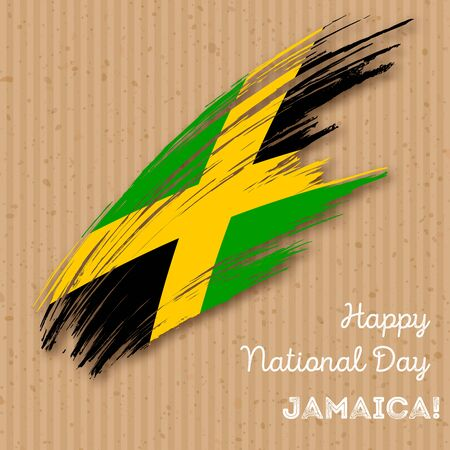 Jamaica Independence Day Patriotic Design. Expressive Brush Stroke in National Flag Colors on kraft paper background. Happy Independence Day Jamaica Vector Greeting Card.