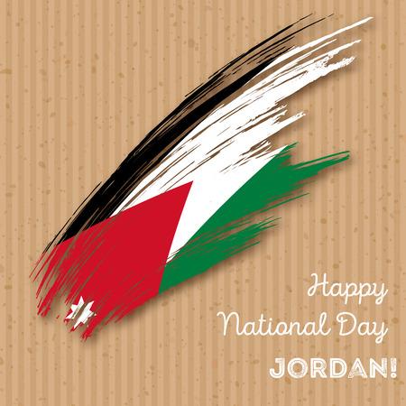 Design Patriótico do Dia da Independência da Jordânia. Curso de pincel expressivo em cores da bandeira nacional no fundo do papel kraft. Feliz Dia da Independência Jordan Vector Greeting Card. Foto de archivo - 84280511