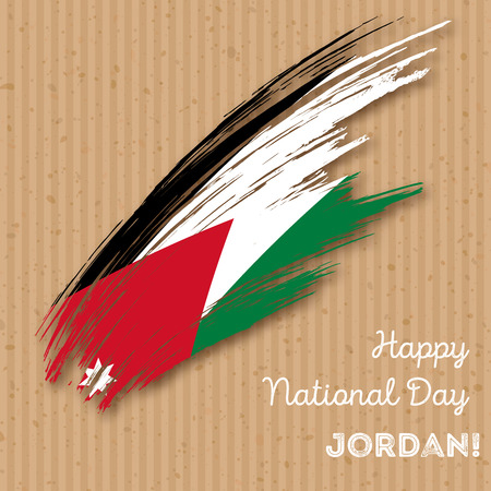 Jordan Independence Day Patriotic Design. Expressive Brush Stroke in National Flag Colors on kraft paper background. Happy Independence Day Jordan Vector Greeting Card.