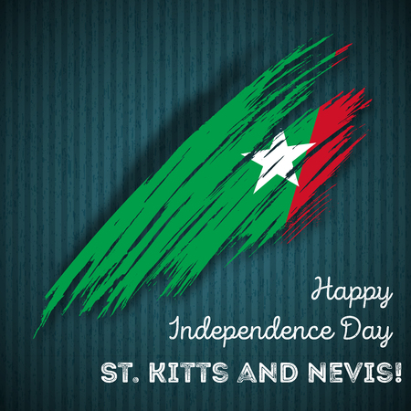 St. Kitts and Nevis Independence Day Patriotic Design. Expressive Brush Stroke in National Flag Colors on dark striped background. Happy Independence Day St. Kitts and Nevis Vector Greeting Card.