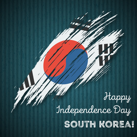 South Korea Independence Day Patriotic Design. Expressive Brush Stroke in National Flag Colors on dark striped . Happy Independence Day South Korea Greeting Card.