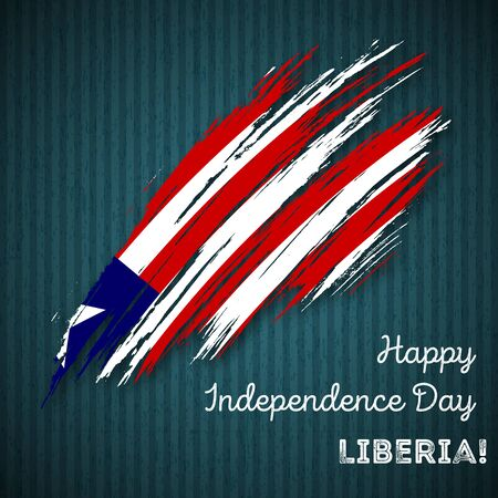 Liberia Independence Day Patriotic Design. Expressive Brush Stroke in National Flag Colors on dark striped background. Happy Independence Day Liberia Vector Greeting Card.
