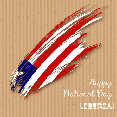 Liberia Independence Day Patriotic Design. Expressive Brush Stroke in National Flag Colors on kraft paper background. Happy Independence Day Liberia Vector Greeting Card. Illustration