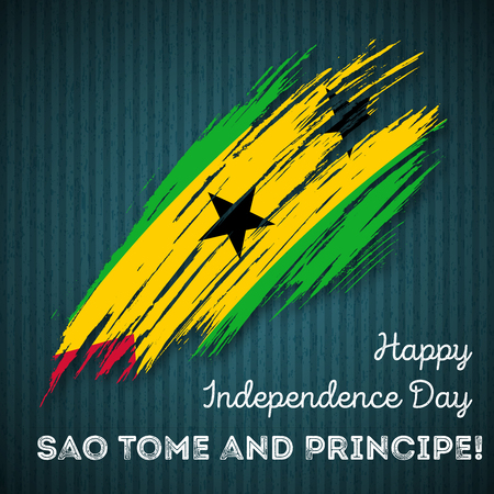Sao Tome and Principe Independence Day Patriotic Design. Expressive Brush Stroke in National Flag Colors on dark striped background. Happy Independence Day Sao Tome and Principe Vector Greeting Card.