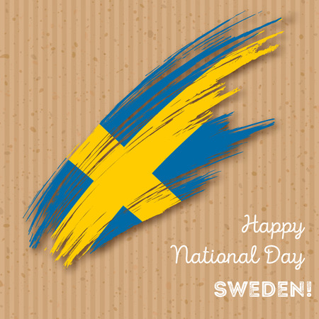 Sweden Independence Day Patriotic Design. Expressive Brush Stroke in National Flag Colors on paper . Happy Independence Day Sweden Greeting Card. Illustration