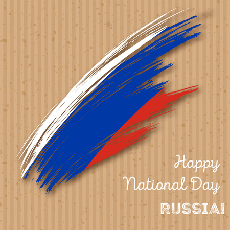 Russia Independence Day Patriotic Design. Expressive Brush Stroke in National Flag Colors on paper . Happy Independence Day Russia Greeting Card.