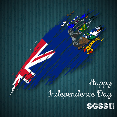 SGSSI Independence Day Patriotic Design. Expressive Brush Stroke in National Flag Colors on dark striped . Happy Independence Day SGSSI Greeting Card.