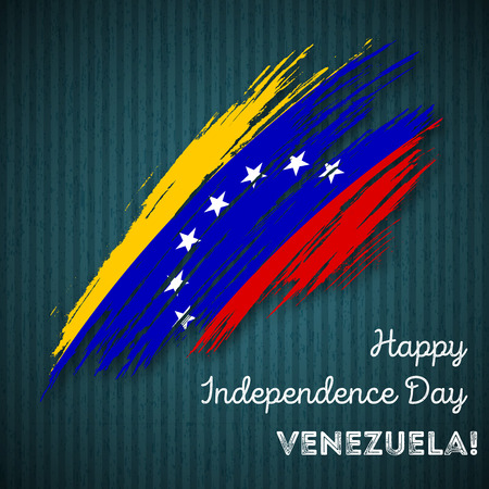 Venezuela Independence Day Patriotic Design. Expressive Brush Stroke in National Flag Colors on dark striped background. Happy Independence Day Venezuela Vector Greeting Card.