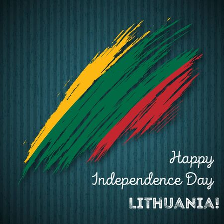 Lithuania Independence Day Patriotic Design. Expressive Brush Stroke in National Flag Colors on dark striped background. Happy Independence Day Lithuania Vector Greeting Card.