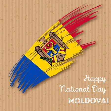 Moldova Independence Day Patriotic Design. Expressive Brush Stroke in National Flag Colors on kraft paper background. Happy Independence Day Moldova Vector Greeting Card.
