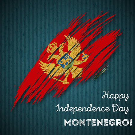 Montenegro Independence Day Patriotic Design. Expressive Brush Stroke in National Flag Colors on dark striped background.