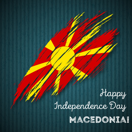 Macedonia Independence Day Patriotic Design. Expressive Brush Stroke in National Flag Colors on dark striped background. Happy Independence Day Macedonia Vector Greeting Card.
