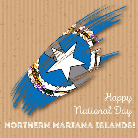 Northern Mariana Islands Independence Day Patriotic Design. Expressive Brush Stroke in National Flag Colors on craft paper background.