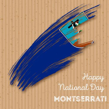 grungy: Montserrat Independence Day Patriotic Design. Expressive Brush Stroke in National Flag Colors on kraft paper background. Illustration