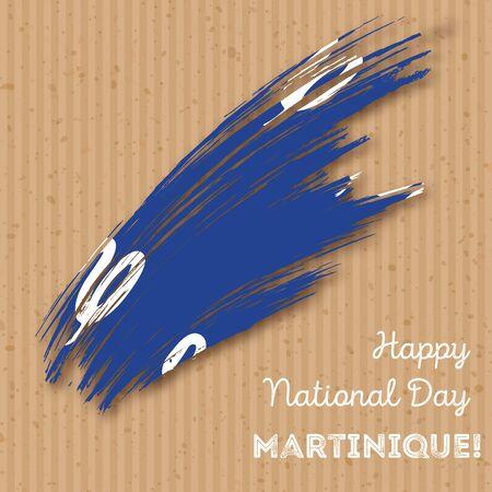 Martinique Independence Day Patriotic Design. Expressive Brush Stroke in National Flag Colors on kraft paper background.