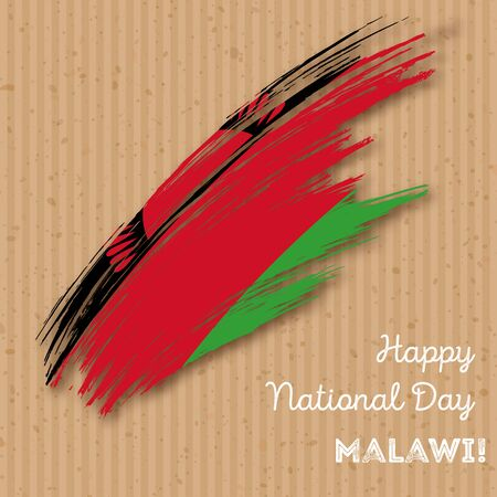 Malawi Independence Day Patriotic Design. Expressive Brush Stroke in National Flag Colors on kraft paper background. Illustration
