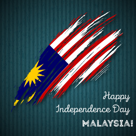 Malaysia Independence Day Patriotic Design. Expressive Brush Stroke in National Flag Colors on dark striped background.