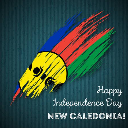 New Caledonia Independence Day Patriotic Design. Expressive Brush Stroke in National Flag Colors on dark striped background. Happy Independence Day New Caledonia Vector Greeting Card.