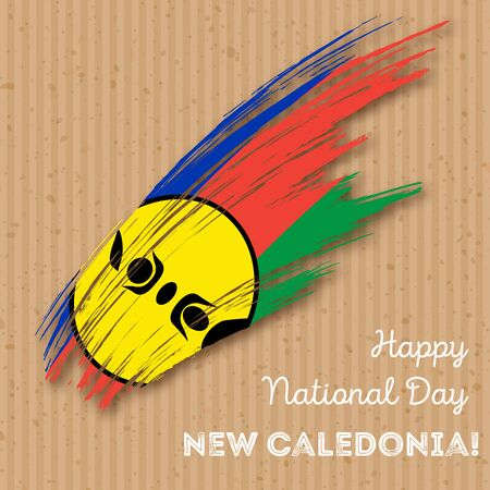 New Caledonia Independence Day Patriotic Design. Expressive Brush Stroke in National Flag Colors on kraft paper background. Happy Independence Day New Caledonia Vector Greeting Card. Illustration