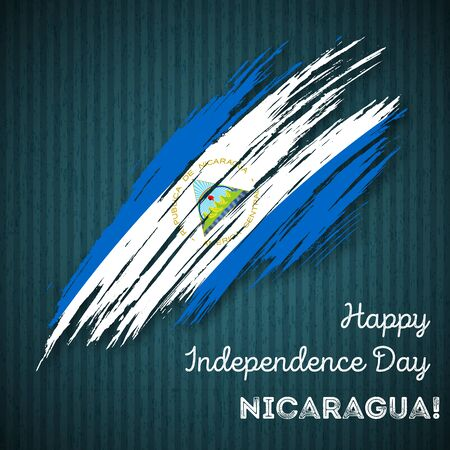 Nicaragua Independence Day Patriotic Design. Expressive Brush Stroke in National Flag Colors on dark striped background. Happy Independence Day Nicaragua Vector Greeting Card.